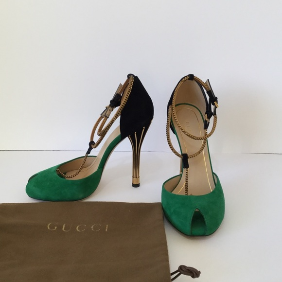 fec178b8257 Gucci Shoes - Gucci Ophelie Two Tone Suede Chain T-Strap Heels